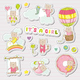 Baby Girl Stickers for Baby Shower Party Celebration. Decorative Elements for Newborn. Vector illustration Stock Photos