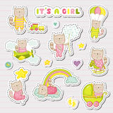 Baby Girl Stickers, Patches for Baby Shower Party Celebration. Decorative Elements for Newborn. Vector illustration Stock Images