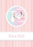 Baby Girl and stork Royalty Free Stock Image
