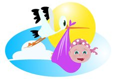 Baby girl and stork. A stork transporting newborn baby girl vector illustration Royalty Free Stock Image