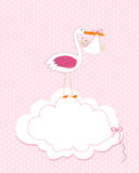 Baby girl with stork. Baby arrival greeting card. Baby shower invitation newborn baby illustration Stock Images
