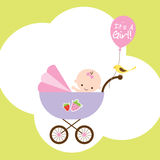 Baby Girl in Stroller. Illustration of a happy baby girl in stroller Royalty Free Stock Photos