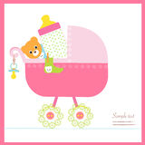 Baby girl stroller with bottle, soother, socks vector royalty free illustration