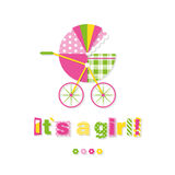 Baby girl stroller greeting card Stock Photography