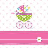 Baby girl stroller greeting card Stock Photo