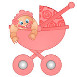 Baby Girl in Stroller Illustration Stock Image