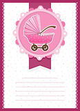 Baby Girl Stroller invitation Card Royalty Free Stock Photography