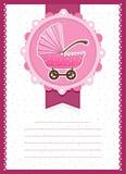 Baby Girl Stroller invitation Card. Vector Illustration Of a Baby girl Shower invitation Card. Stroller Royalty Free Stock Photography