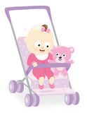 Baby girl in stroller with teddy bear Stock Photos