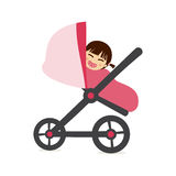 Baby girl on stroller Royalty Free Stock Photos