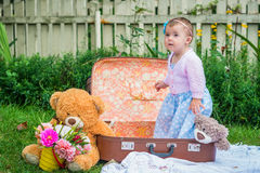 Baby girl in suitcase Royalty Free Stock Photography