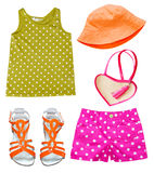 Baby girl summer bright fashion clothing. Royalty Free Stock Photos