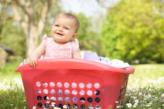 Baby Girl In Summer Dress Sitting Stock Images