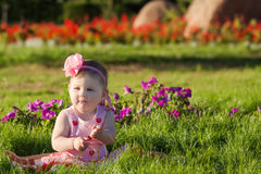 Baby girl at summer park Royalty Free Stock Photo