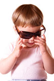 Baby girl with sun glasses. Baby girl wearing sun glasses. Isolated on white background royalty free stock photos