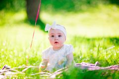 Baby girl on a sunny meadow portrait Royalty Free Stock Images