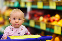 Baby girl in supermarket Stock Images