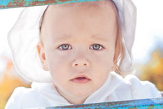 Baby girl. Sweet little baby girl peeping out royalty free stock photos