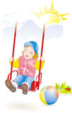 Baby girl on swing. Vector Royalty Free Stock Photo