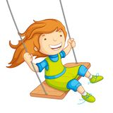 Baby Girl Swinging. Vector illustration of  baby girl swinging on swing Royalty Free Stock Images
