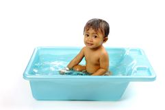 Baby Girl Take A Bath Royalty Free Stock Photography