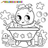 Baby girl taking a bath coloring page. Baby girl in a tub taking a bubble bath and playing with her rubber duck toy. Coloring book black and white page Royalty Free Stock Photos