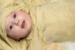 Baby girl taking a bath Stock Images