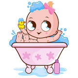 Baby girl taking a bath royalty free illustration