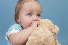 Baby girl with teddy Royalty Free Stock Photography