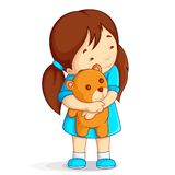Baby Girl with Teddy Bear. Vector illustration of baby girl hugging tedday bear Royalty Free Stock Photos