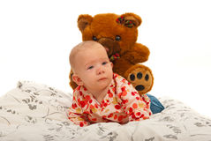 Baby girl with teddy bear Royalty Free Stock Photo