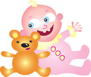 Baby girl with teddy bear. A cute baby girl with her toy teddy bear Royalty Free Stock Photo