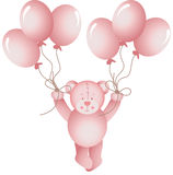 Baby girl teddy bear flying holding a balloons Royalty Free Stock Photos