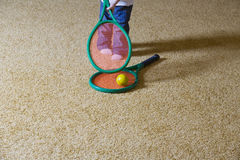 Baby Girl With Tennis Racket Royalty Free Stock Images
