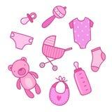 Baby girl things. Vector hand drawn illustration Royalty Free Stock Photo
