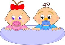Baby Girl (Thumbelina) With Red Bow And Boy Stock Photos