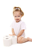 Baby girl with toilet paper Royalty Free Stock Photography