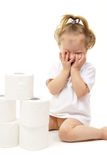 Baby girl with toilet paper Royalty Free Stock Images