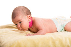 Baby girl with torticollis Stock Photo