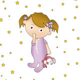 Baby girl with a toy. Illustration of a baby girl with a bunny toy Stock Images