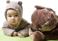 Baby girl with toy bear isolated. On white background .The concept of childhood and holiday stock photo