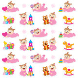 Baby Girl and Toy Seamless Royalty Free Stock Photos