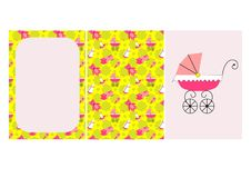 Baby girl toys congratulation card, poster royalty free illustration