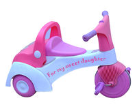 Baby Girl Tricycle. A tricycle for babies, especially for small girls Royalty Free Stock Image