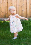Baby girl trying to walk Stock Photos