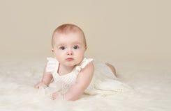 Baby Girl Tummy Time Smiling Stock Photos
