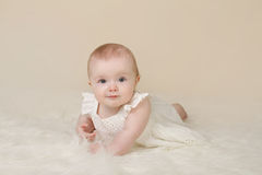 Baby Girl Tummy Time Smiling Stock Images