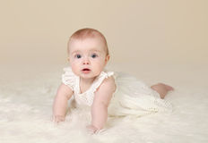 Baby Girl Tummy Time Smiling Royalty Free Stock Image