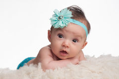 Baby Girl with Turquoise Blue Flower Headband Stock Images