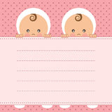 Baby Girl Twins Announcement Card. Royalty Free Stock Images